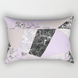 Geometrical black white lavender abstract marble Rectangular Pillow