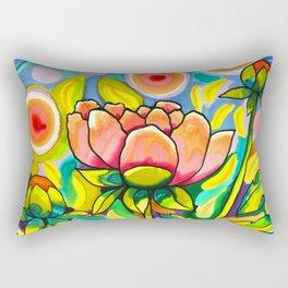 Peach & Pink Peonies Rectangular Pillow