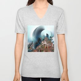 Shimmer on top of the fantasy mountain Unisex V-Neck
