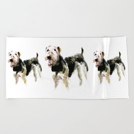 Airedale Terrier on watercolor Beach Towel