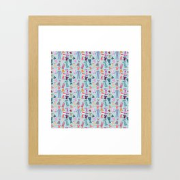 Dress Papercut Pattern - blue Framed Art Print