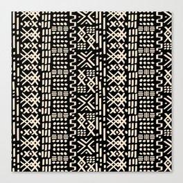 Mudcloth No. 2 in Black + White Canvas Print