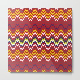 African Zigzag Chevron Weave Striped Pattern Metal Print