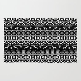 Whippet fair isle dog breed pattern christmas holidays gifts dog lovers black and white Rug