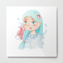 girl with blue hair Metal Print