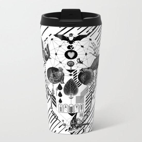 Abstract Skull B&W Metal Travel Mug