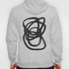 Black And White Minimalist Mid Century Abstract Ink Art Circle Swirls Black Circles Minimal Hoody