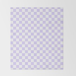 White and Pale Lavender Violet Checkerboard Throw Blanket