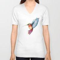 hummingbird V-neck T-shirts featuring Hummingbird by Alejandra Lara