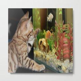 Wishing To Be Fishing Kitten Metal Print