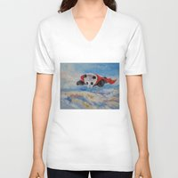 superheros V-neck T-shirts featuring Panda Superhero by Michael Creese