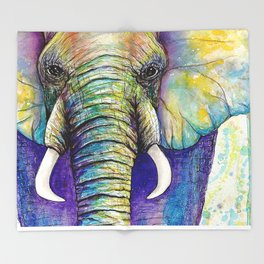 Close up Elephant Watercolor Throw Blanket