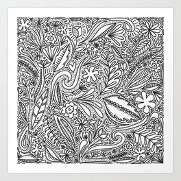 Busy, Detailed Monochrome Pattern Design - Modern Aesthetic Art Print