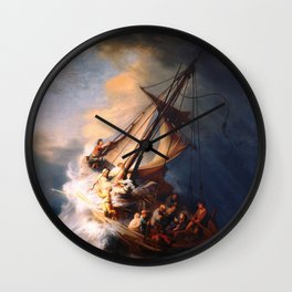 The Storm On The Sea Of Galilee Painting By Rembrandt Wall Clock