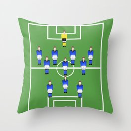 Football Soccer sports team in blue Throw Pillow