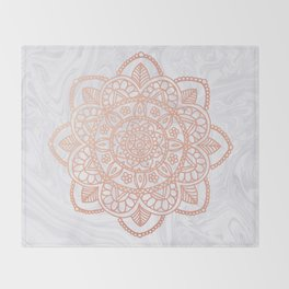 Rose Gold Mandala on White Marble Throw Blanket