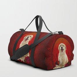 Cute little kitten with dog Duffle Bag
