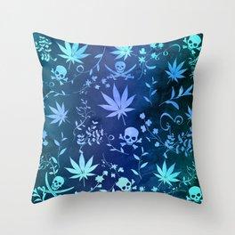 Aqua Pot Leaves and Skulls Throw Pillow
