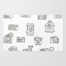 Cameras: Black - pop art illustration Rug