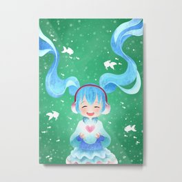 Smile and Hearts Twintail Girl Metal Print