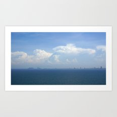 Ocean Sea Horizon with Mountains & Clouds Art Print