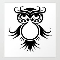 Tribal Owl 4 Art Print