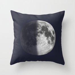 First Quarter Moon on Navy Throw Pillow