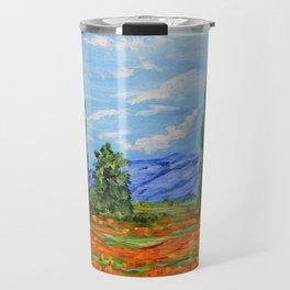 Poppy Meadow, Poppy Field Impressionist Painting Travel Mug