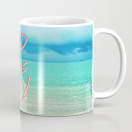 """Good Vibes Only""  Quote - Turquoise Tropical Sandy Beach Coffee Mug"