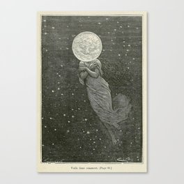 Antique Moon Woman Canvas Print