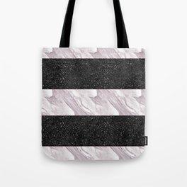 Black Glitter & Marble Stripes | Digital Design | Pattern Tote Bag