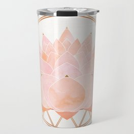Blush Zen Lotus ~ Metallic Accents Travel Mug