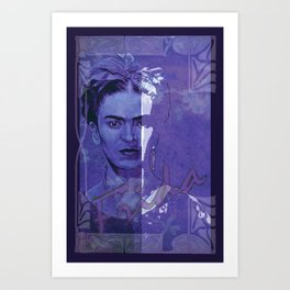 Frida Kahlo - between worlds - blurple Art Print