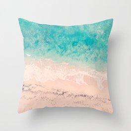 Tropical beach, aerial photo, drone, italian sea, Apulia, tropics photography, ocean, crystal clear Throw Pillow