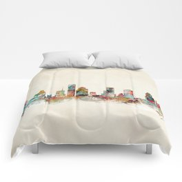 houston texas skyline Comforters