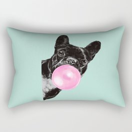 Bubble Gum Sneaky French Bulldog in Green Rectangular Pillow