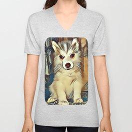Siberian Husky Puppy Unisex V-Neck