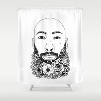 caleb troy Shower Curtains featuring PHOENIX AND THE FLOWER GIRL PHOENIX TROY PLAIN PRINT by Lauryn花Cheney