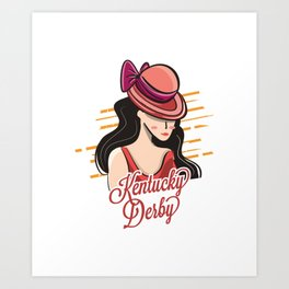 Kentucky Derby Lady With Hat Art Print
