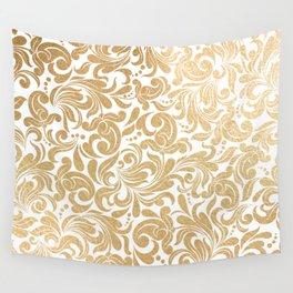 Gold foil swirls damask #13 Wall Tapestry