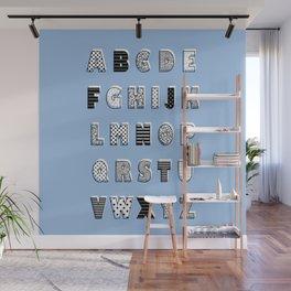 ABC Blue Wall Mural
