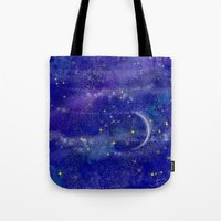 night sky Tote Bags featuring Night Sky by Forever Art & Fashion_Leslie Troisi