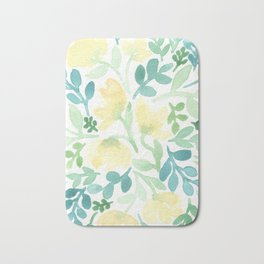 Yellow and Blue Floral Circle Bath Mat