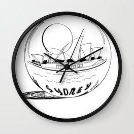 Sydney in a glass globe . artwork Wall Clock