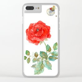 Le Petit Prince Little Prince with Fox & Rose vertical Clear iPhone Case