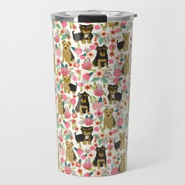 Yorkshire Terrier cute florals must have gifts for dog lover yorkie owners delight secret gifts art Travel Mug