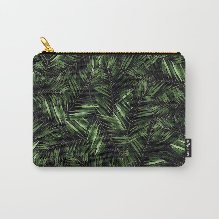 Tropical Palm Leaf Pattern on Black Background Carry-All Pouch