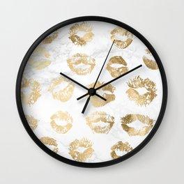 Fashion Lips Gold Lipstick on Marble Wall Clock