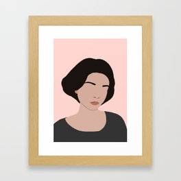 claire - portrait in pink Framed Art Print