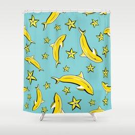 Vitamin tasty bananas dolphin pattern. Tropical food vegetarian organic background.Yummy summer cove Shower Curtain